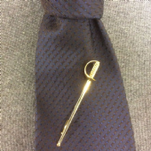 Sword Tie Pin Vintage from Brussels, Belgium. Gold plated, Original Box (SOLD)